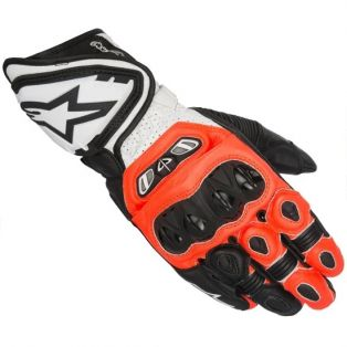 GP Tech Leather Glove Black/Fluo Red/White