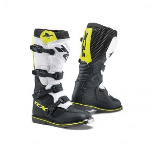 X-Blast offroad Motorcycle Boots White/Black/Yellow Fluo