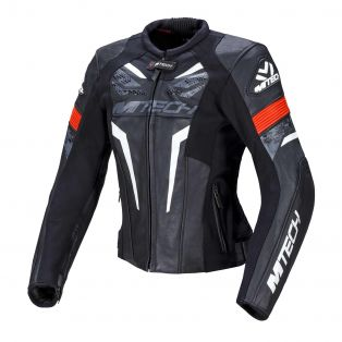 Halo Lady women's leather motorcycle jacket Black/Neon Red/White