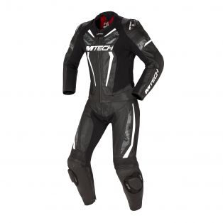Halo two pieces motorcycle suit Black/Black/White