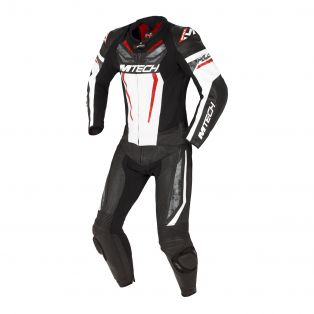 Halo two pieces motorcycle suit Perforated Black/White/Fluo Re
