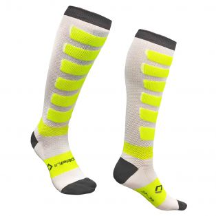 Calze Compression Touring Long ultraleggere Bianco/Antracite/Giallo Fluo
